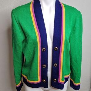 St John Collection || Green Cardigan w/ Stripes